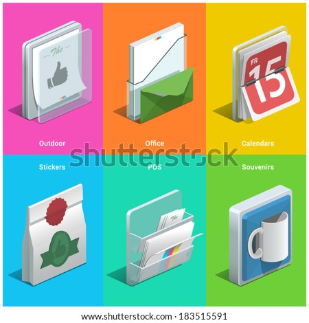 Printing isometric icons on a colorful background - stock vector
