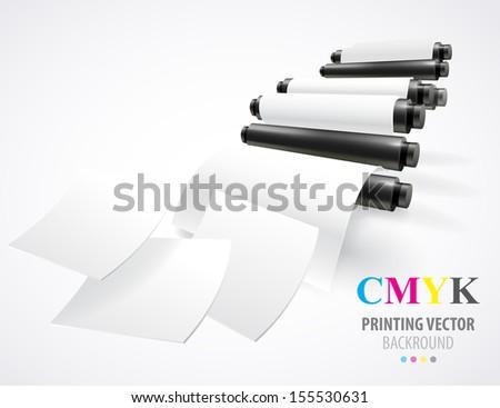 Printing machine - stock vector