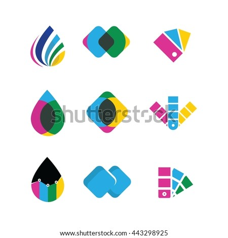 Printing Media Colorful Vector Icon Logo