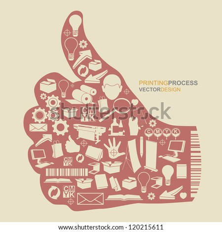 Printing process and inkjet printers. Concept design symbols series illustration by vector. - stock vector