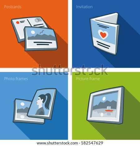 Printouts icon set of postcard, invitation, photo frame and picture frame - stock vector