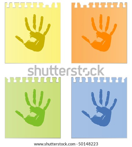 Prints of hands on sheets of paper - stock vector