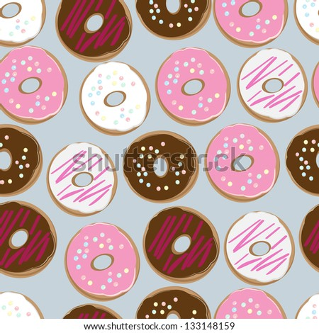 PrintSeamless background pattern of assorted doughnuts, or donuts, with chocolate, white and pink iced ones covered in sprinkles scattered randomly on a white background - stock vector