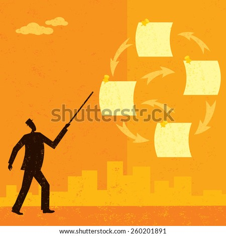 Prioritizing Tasks A businessman using notes to prioritize his tasks over an abstract skyline background.The man & notes and the background are on a separate labeled layers. - stock vector