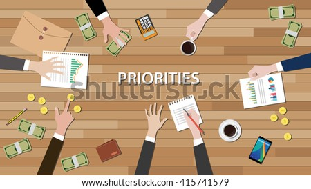 priority priorities team work together on top of wood desk - stock vector