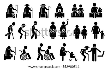 Priority seats for old man, senior citizen, blind man, pregnant woman, children, mother with kid or baby, adult with toddler, handicap, disabled and injured people. Privilege chair for people in need.