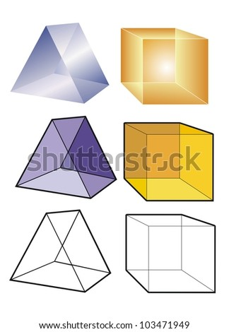 Prism and cube in translucent, transparent and outline form. - stock vector