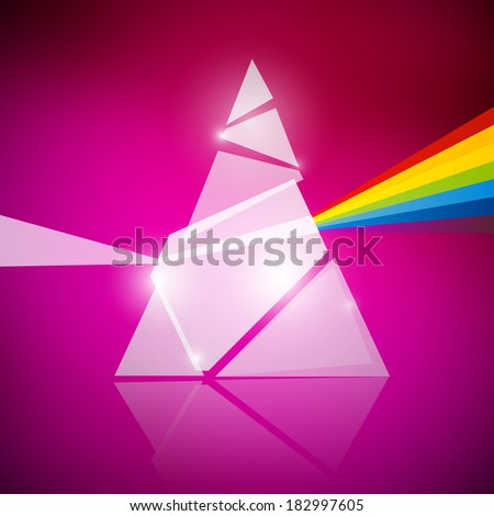 Prism Spectrum Illustration on Pink Background - stock vector