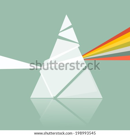 Prism Spectrum Illustration on Retro Background  - stock vector