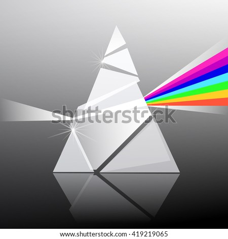 Prism Vector Illustration. Triangle Transparent Glass Shape with Colorful Rainbow Effect. - stock vector