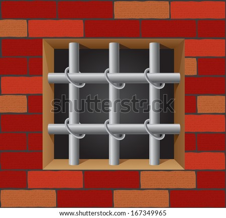 prison bars on brick wall vector illustration - stock vector