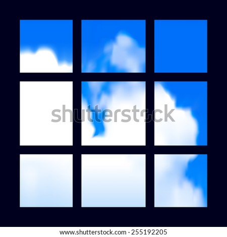 prison bars with a view of freedom - stock vector