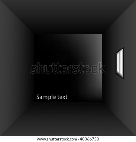 prison cell with bars, vector art illustration - stock vector