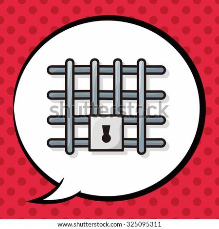 Prison doodle, speech bubble - stock vector