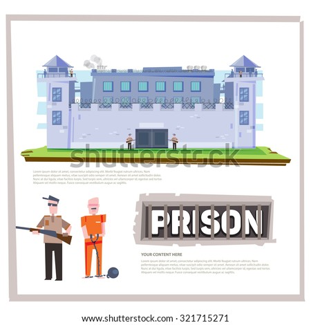 Prison Jail Penitentiary Building with prisoner and officer prisoner. typographic deign character design - vector illustration - stock vector