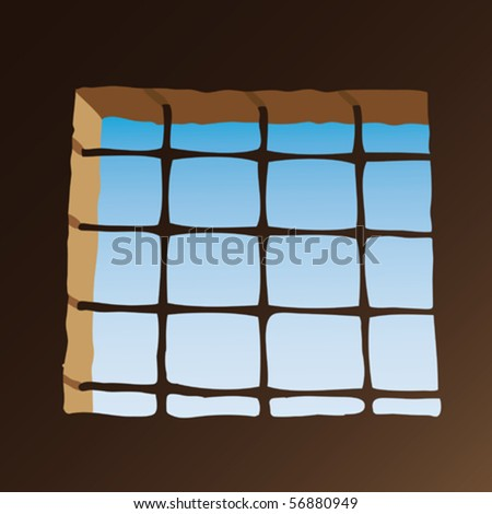 Prison window - stock vector