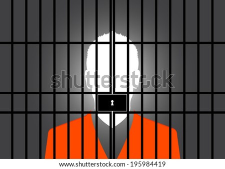 Prisoner at the jail - Vector - stock vector
