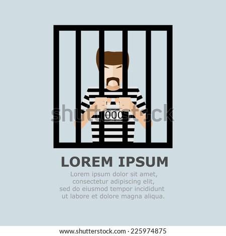 Prisoner in Jail Cartoon Vector Illustration - stock vector