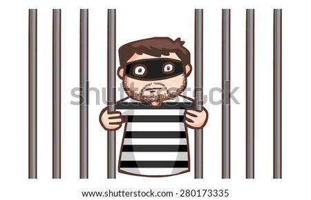 prisoner in the jail vector illustration - stock vector