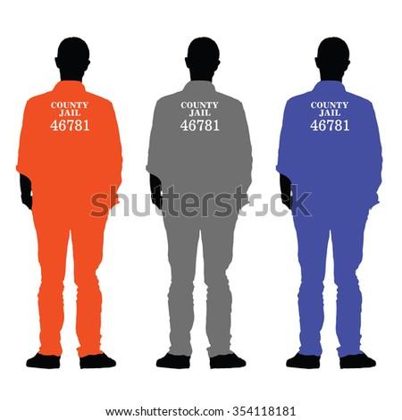 prisoner set vector illustration in colorful - stock vector