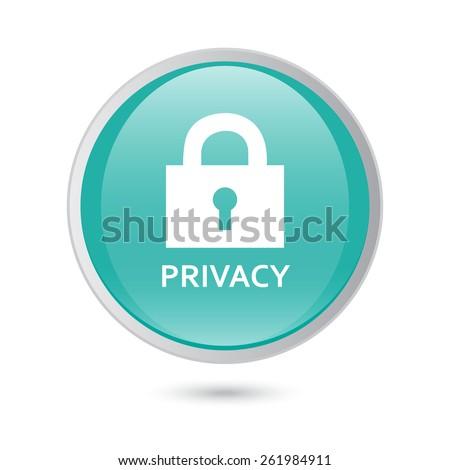 privacy blue icon. vector icon - stock vector