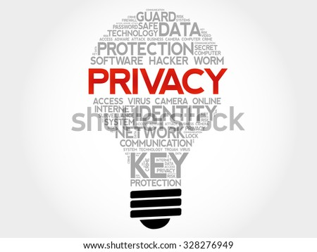 PRIVACY bulb word cloud, business concept - stock vector