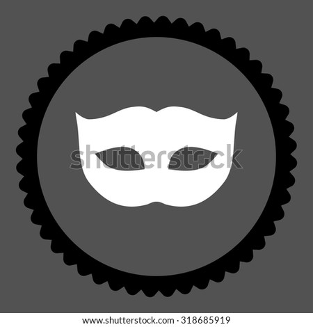 Privacy Mask round stamp icon. This flat vector symbol is drawn with black and white colors on a gray background. - stock vector