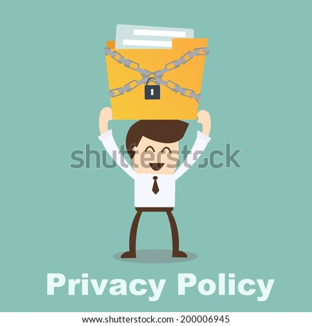 privacy policy concept- businessman holding file - stock vector