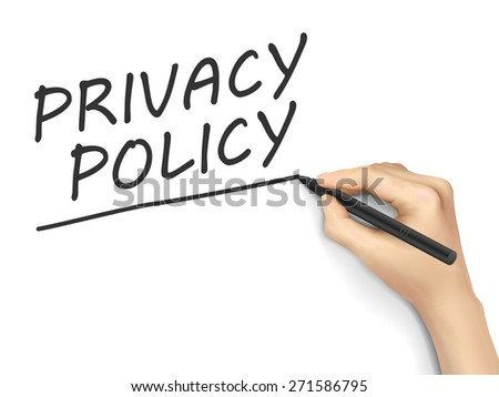 privacy policy words written by hand on white background - stock vector