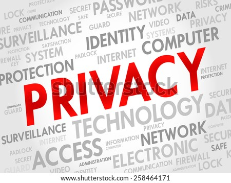 PRIVACY word cloud, business concept - stock vector
