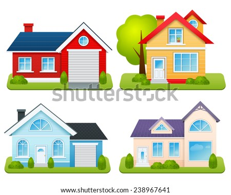 Private houses family town apartments village cottages emblems set isolated vector illustration - stock vector