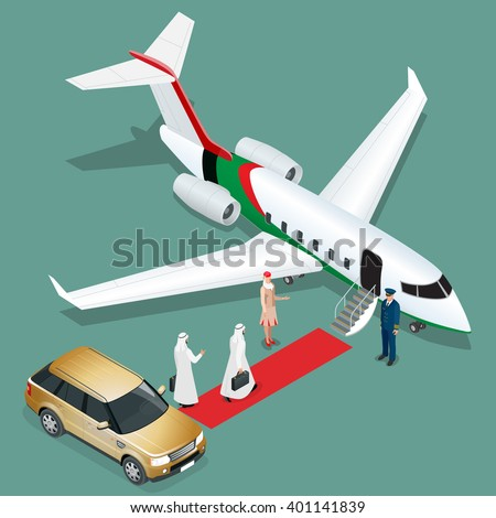 Private jet airplane. Two arab business mans walking towards private jet while pilot and stewardesses standing at airport terminal. Flat 3d vector isometric illustration. - stock vector