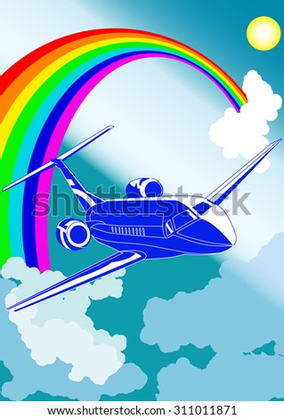 Private jet plane, with cloudy sky and rainbow on background, vector illustration - stock vector