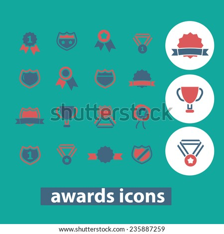 prize, awards, winner, game, trophy icons, signs set, vector - stock vector