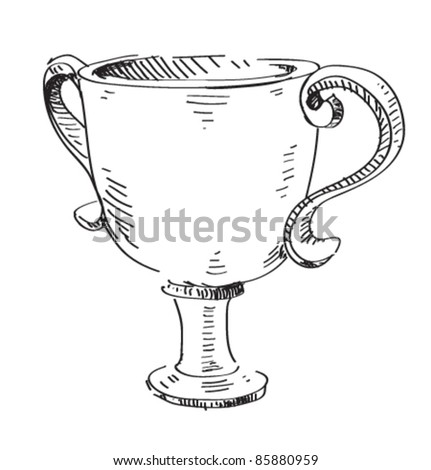 Prize trophy icon. Hand drawing cartoon sketch illustration in childish doodle style - stock vector