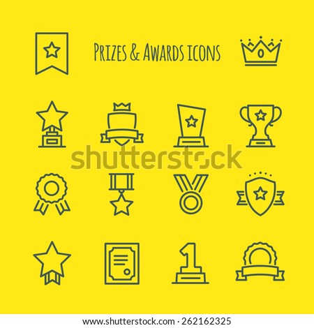 Prizes & Awards Vector Line Icons Set - stock vector