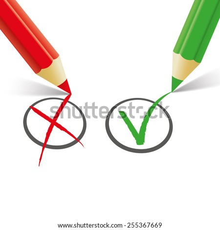 Pro and contra list with pens on the white. Eps 10 vector file. - stock vector