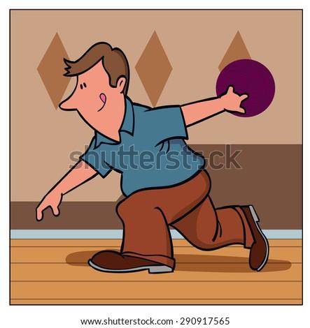 Pro Bowler / A man prepares to bowl - stock vector