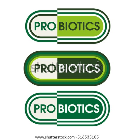 Probiotics food product label in capsule style design.