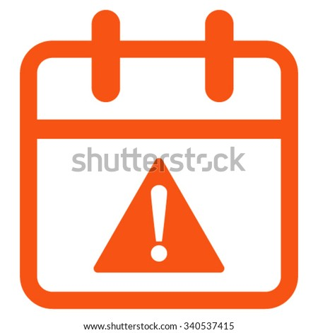Problem Date vector icon. Style is flat symbol, orange color, rounded angles, white background. - stock vector