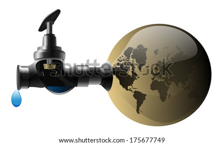 problem of water on earth, drought, disappearing water on earth - stock vector