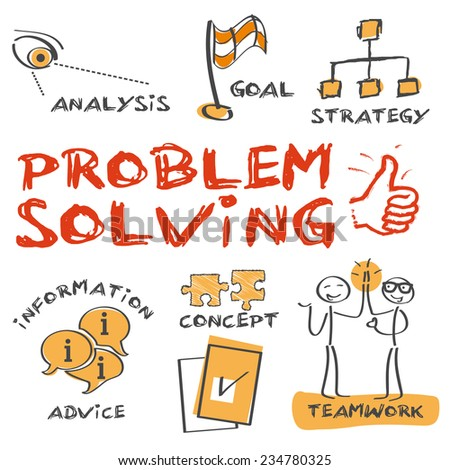problem-solving concept. Sketch with keywords and icons  - stock vector