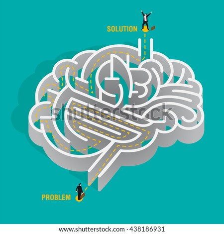 Problem solving. Nice idea of a human brain depicted as a maze. a businessman must overcome the problems by reasoning and thinking without getting lost. - stock vector