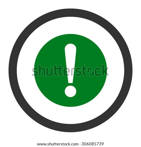Problem vector icon. This rounded flat symbol is drawn with green and gray colors on a white background.