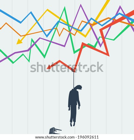 Problems trader on the stock exchange, it killed crisis - stock vector