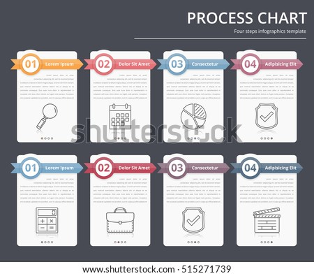Process chart, flow chart template, infographics design elements with numbers, and text, business infographics, workflow, steps, options, vector eps10 illustration