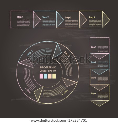 Process chart module, drawn by colored chalk on chalkboard background. Vector illustration. - stock vector