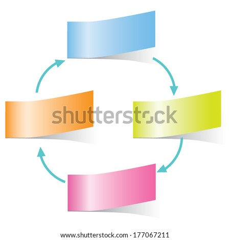 process flow diagram in sticky notes concept - stock vector