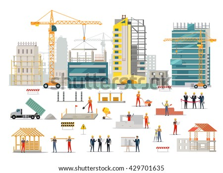 Process of construction of residential houses isolated. Big building dormitory area. Icons of construction machinery, construction workers and engineers design flat style. Vector illustration - stock vector