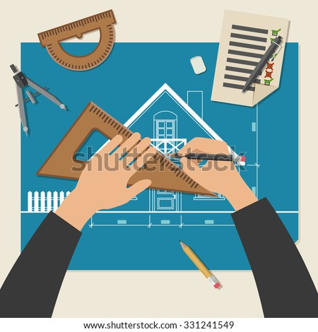 Process of designing the house. Simple vector illustration of blueprints with professional drawing equipment. - stock vector